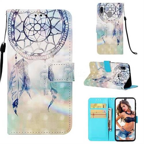 Fantasy Campanula 3D Painted Leather Wallet Case for Samsung Galaxy A40