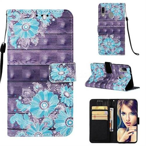 Blue Flower 3D Painted Leather Wallet Case for Samsung Galaxy A40