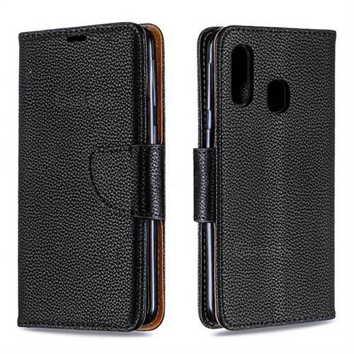Classic Luxury Litchi Leather Phone Wallet Case for Samsung Galaxy A40 - Black
