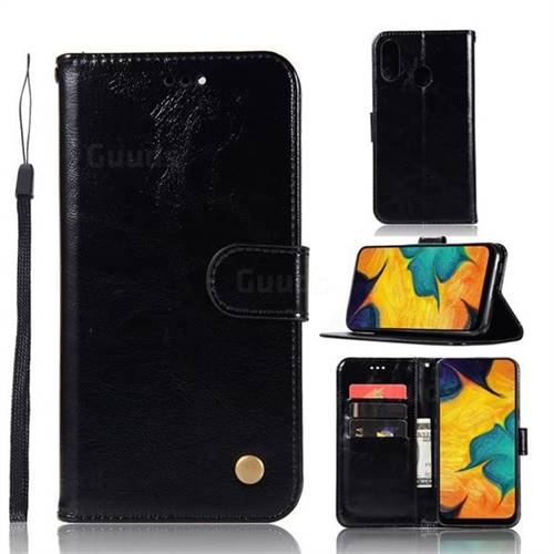 Luxury Retro Leather Wallet Case for Samsung Galaxy A40 - Black