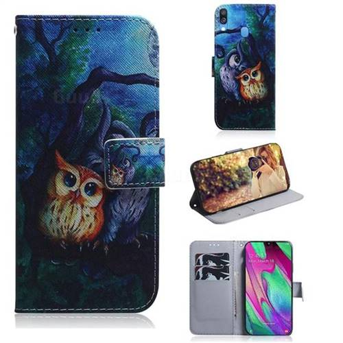 Oil Painting Owl PU Leather Wallet Case for Samsung Galaxy A40