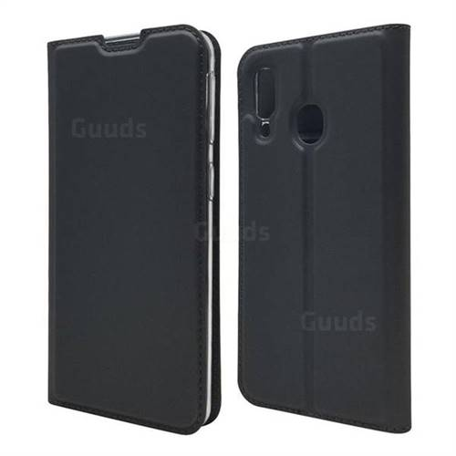 Ultra Slim Card Magnetic Automatic Suction Leather Wallet Case for Samsung Galaxy A40 - Star Grey