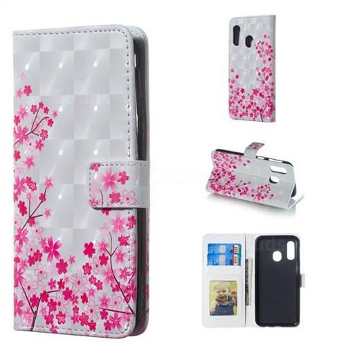 Cherry Blossom 3D Painted Leather Phone Wallet Case for Samsung Galaxy A40