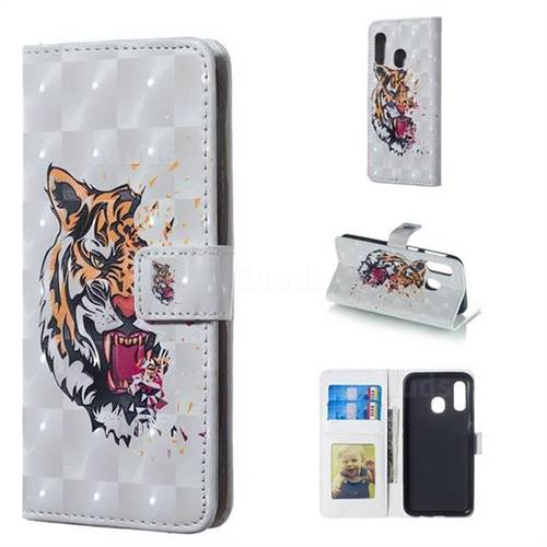 Toothed Tiger 3D Painted Leather Phone Wallet Case for Samsung Galaxy A40