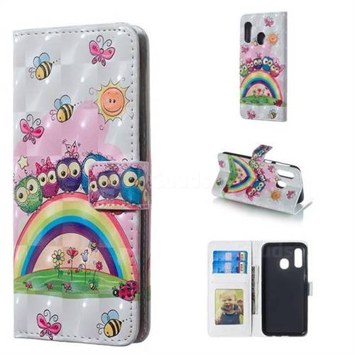Rainbow Owl Family 3D Painted Leather Phone Wallet Case for Samsung Galaxy A40