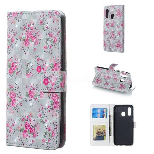 Roses Flower 3D Painted Leather Phone Wallet Case for Samsung Galaxy A40