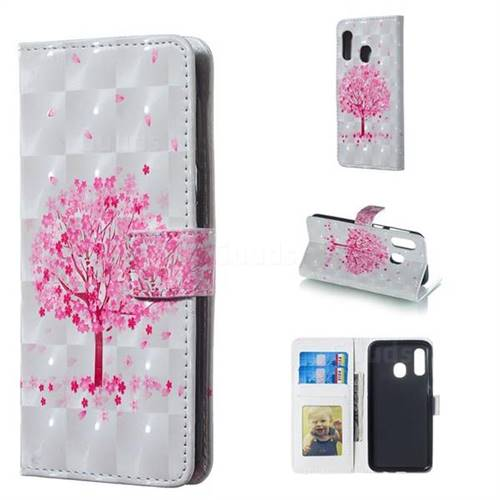 Sakura Flower Tree 3D Painted Leather Phone Wallet Case for Samsung Galaxy A40