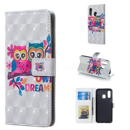 Couple Owl 3D Painted Leather Phone Wallet Case for Samsung Galaxy A40