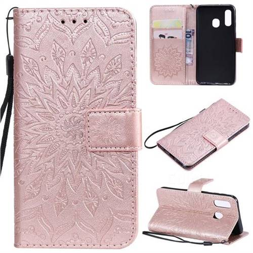 Embossing Sunflower Leather Wallet Case for Samsung Galaxy A40 - Rose Gold