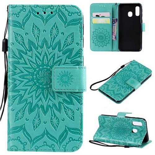 Embossing Sunflower Leather Wallet Case for Samsung Galaxy A40 - Green