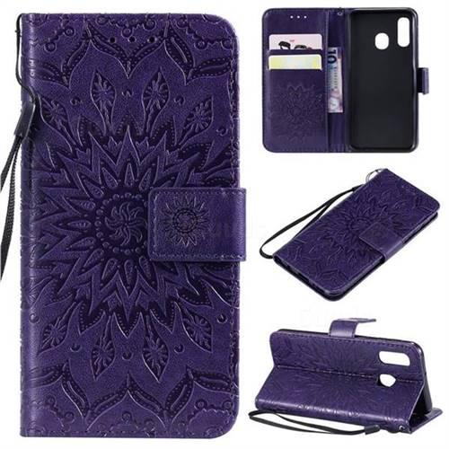 Embossing Sunflower Leather Wallet Case for Samsung Galaxy A40 - Purple