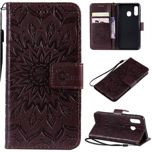 Embossing Sunflower Leather Wallet Case for Samsung Galaxy A40 - Brown