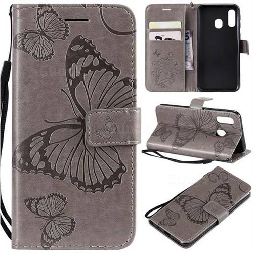 Embossing 3D Butterfly Leather Wallet Case for Samsung Galaxy A40 - Gray