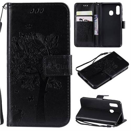 Embossing Butterfly Tree Leather Wallet Case for Samsung Galaxy A40 - Black