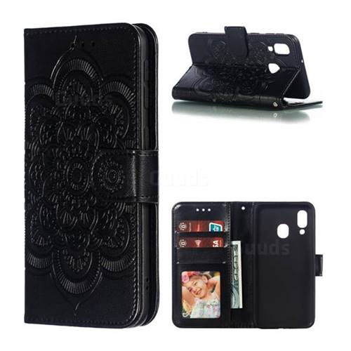 Intricate Embossing Datura Solar Leather Wallet Case for Samsung Galaxy A40 - Black