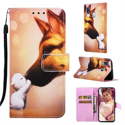 Hound Kiss Matte Leather Wallet Phone Case for Samsung Galaxy A40