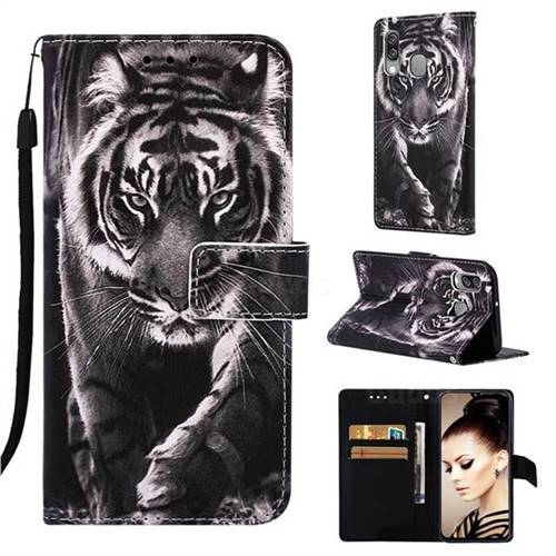 Black and White Tiger Matte Leather Wallet Phone Case for Samsung Galaxy A40