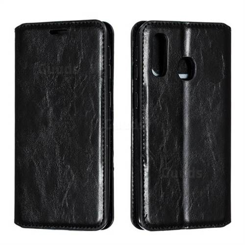 Retro Slim Magnetic Crazy Horse PU Leather Wallet Case for Samsung Galaxy A40 - Black