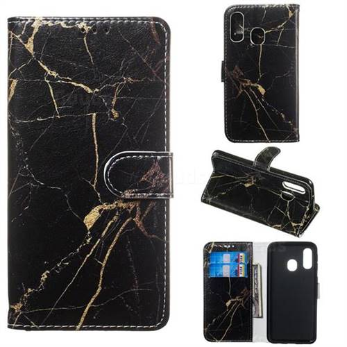 Black Gold Marble PU Leather Wallet Case for Samsung Galaxy A40