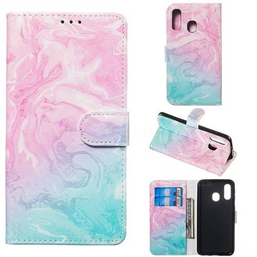 Pink Green Marble PU Leather Wallet Case for Samsung Galaxy A40