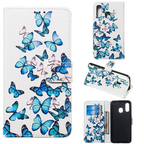 Blue Vivid Butterflies PU Leather Wallet Case for Samsung Galaxy A40