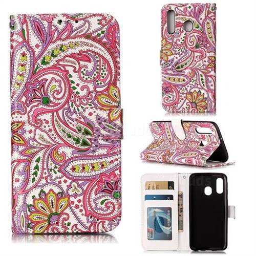 Pepper Flowers 3D Relief Oil PU Leather Wallet Case for Samsung Galaxy A40