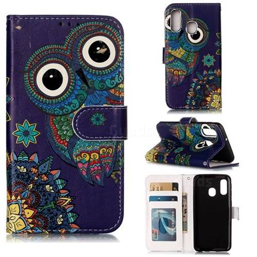 Folk Owl 3D Relief Oil PU Leather Wallet Case for Samsung Galaxy A40