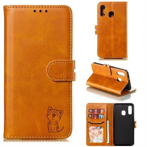 Embossing Happy Cat Leather Wallet Case for Samsung Galaxy A40 - Yellow