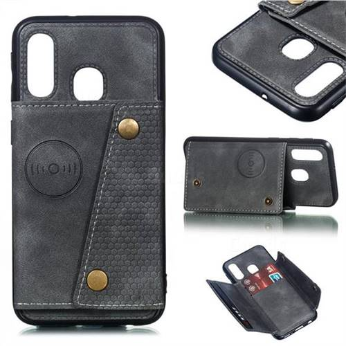 Retro Multifunction Card Slots Stand Leather Coated Phone Back Cover for Samsung Galaxy A40 - Gray