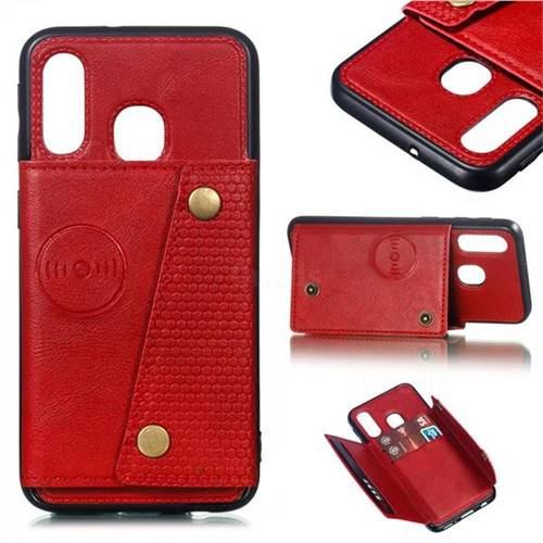 Retro Multifunction Card Slots Stand Leather Coated Phone Back Cover for Samsung Galaxy A40 - Red