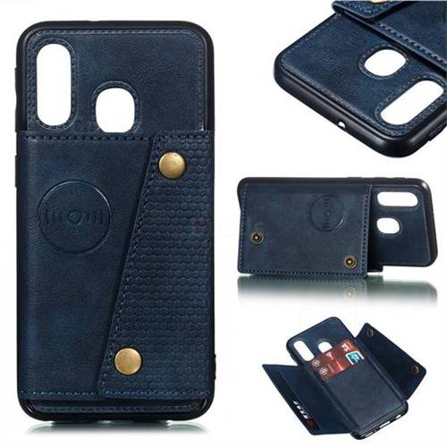 Retro Multifunction Card Slots Stand Leather Coated Phone Back Cover for Samsung Galaxy A40 - Blue