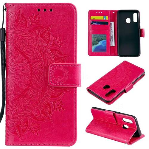 Intricate Embossing Datura Leather Wallet Case for Samsung Galaxy A40 - Rose Red