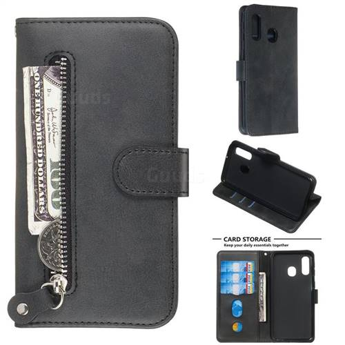 Retro Luxury Zipper Leather Phone Wallet Case for Samsung Galaxy A40 - Black