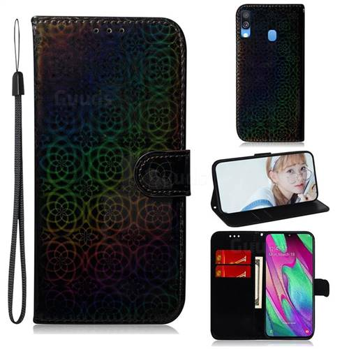 Laser Circle Shining Leather Wallet Phone Case for Samsung Galaxy A40 - Black
