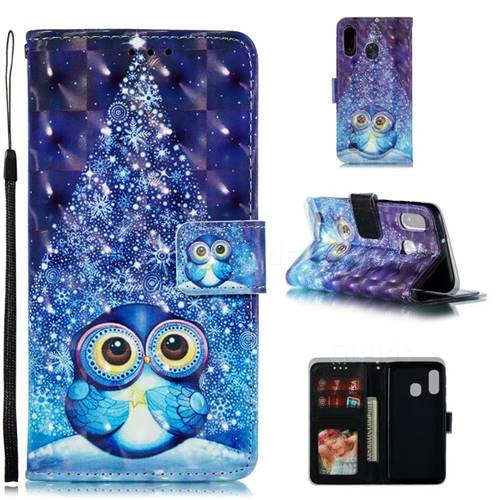 Stage Owl 3D Painted Leather Phone Wallet Case for Samsung Galaxy A40
