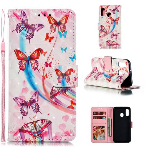 Ribbon Flying Butterfly 3D Painted Leather Phone Wallet Case for Samsung Galaxy A40