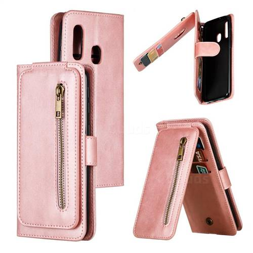 Multifunction 9 Cards Leather Zipper Wallet Phone Case for Samsung Galaxy A40 - Rose Gold