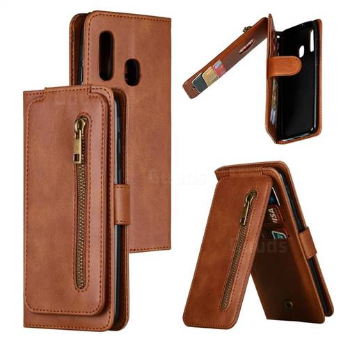 Multifunction 9 Cards Leather Zipper Wallet Phone Case for Samsung Galaxy A40 - Brown