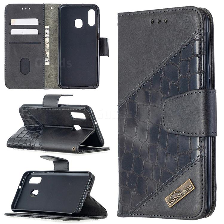 BinfenColor BF04 Color Block Stitching Crocodile Leather Case Cover for Samsung Galaxy A40 - Black