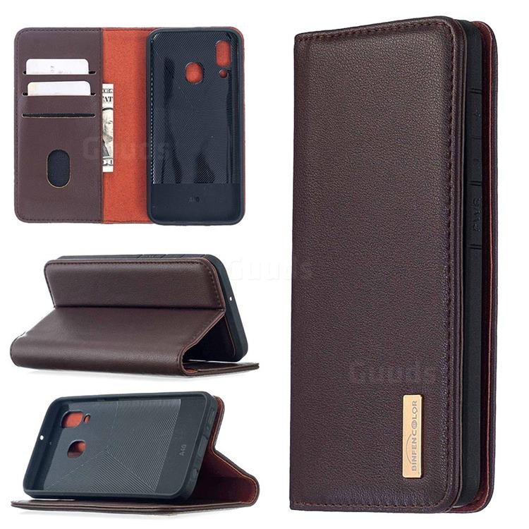 Binfen Color BF06 Luxury Classic Genuine Leather Detachable Magnet Holster Cover for Samsung Galaxy A40 - Dark Brown