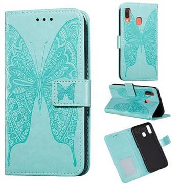 Intricate Embossing Vivid Butterfly Leather Wallet Case for Samsung Galaxy A40 - Green