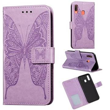 Intricate Embossing Vivid Butterfly Leather Wallet Case for Samsung Galaxy A40 - Purple
