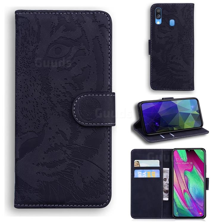 Intricate Embossing Tiger Face Leather Wallet Case for Samsung Galaxy A40 - Black