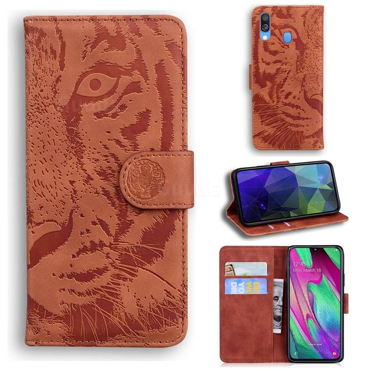 Intricate Embossing Tiger Face Leather Wallet Case for Samsung Galaxy A40 - Brown