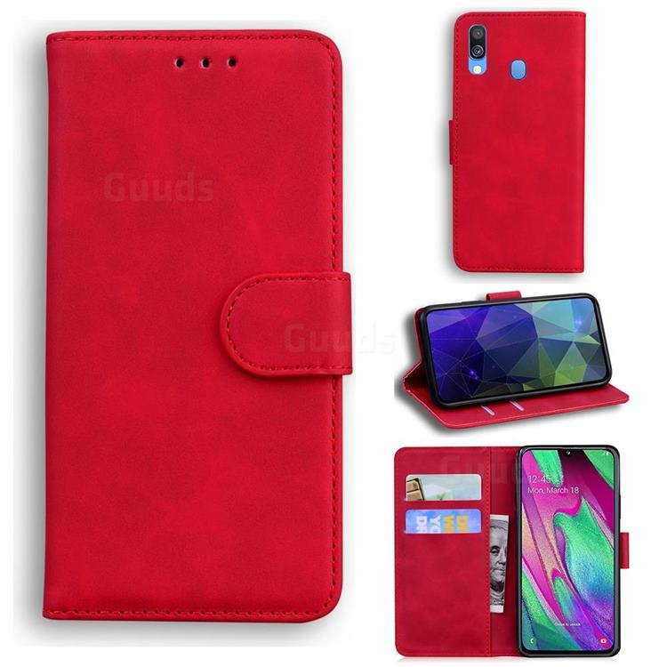 Retro Classic Skin Feel Leather Wallet Phone Case for Samsung Galaxy A40 - Red