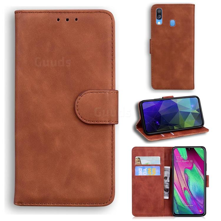 Retro Classic Skin Feel Leather Wallet Phone Case for Samsung Galaxy A40 - Brown