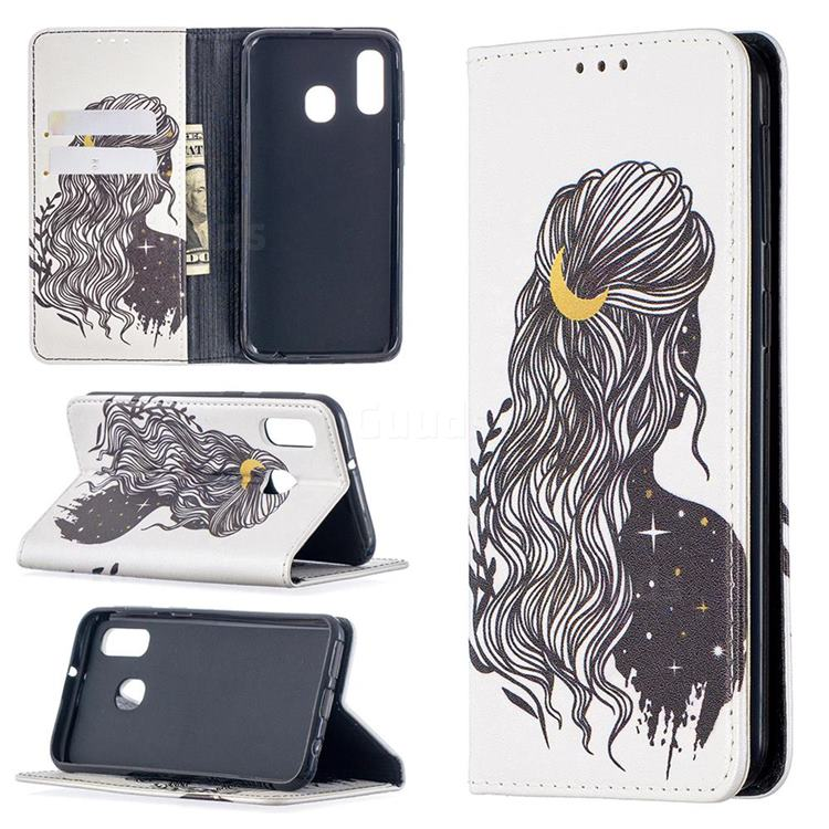 Girl with Long Hair Slim Magnetic Attraction Wallet Flip Cover for Samsung Galaxy A40