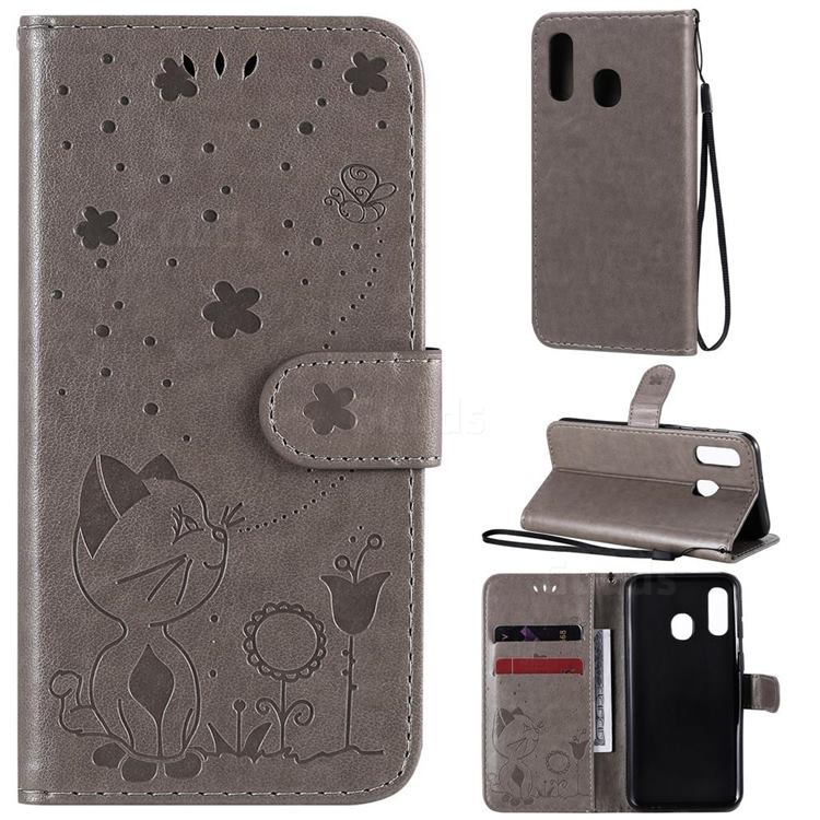 Embossing Bee and Cat Leather Wallet Case for Samsung Galaxy A40 - Gray