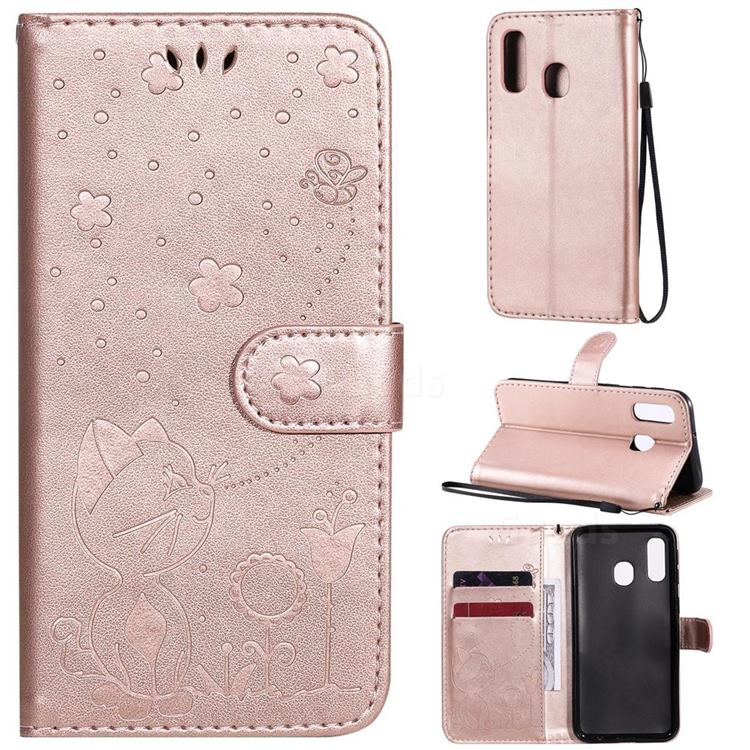 Embossing Bee and Cat Leather Wallet Case for Samsung Galaxy A40 - Rose Gold