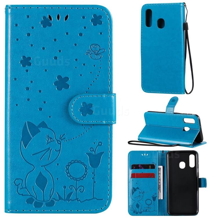 Embossing Bee and Cat Leather Wallet Case for Samsung Galaxy A40 - Blue